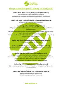 Témy bakalárskych prác na školský rok 2019-1